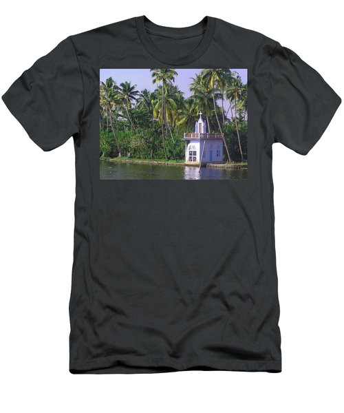 Church Located On A Coastal Lagoon In Kerala In India Men's T-Shirt (Athletic Fit)
