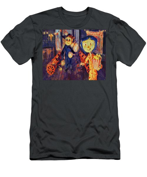 Men's T-Shirt (Slim Fit) featuring the painting Coraline Circus by Joe Misrasi