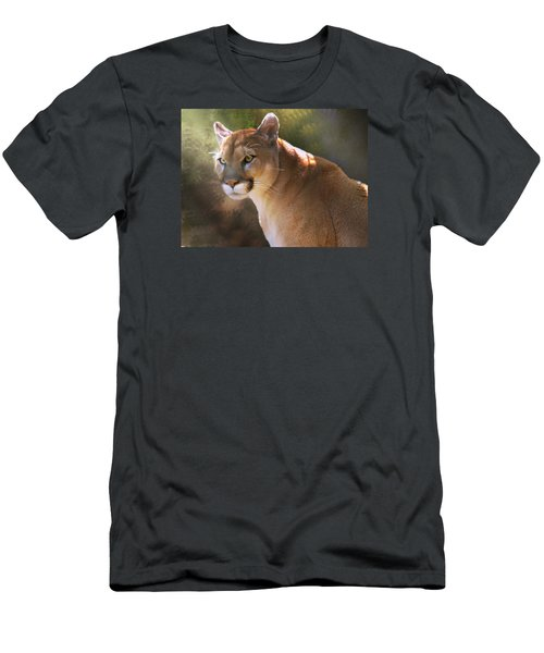 Men's T-Shirt (Slim Fit) featuring the digital art Cougar by Mary Almond