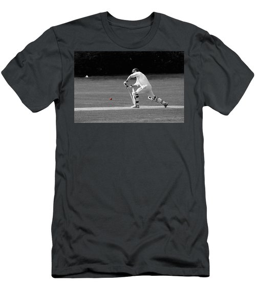 Cricketer In Black And White With Red Ball Men's T-Shirt (Athletic Fit)