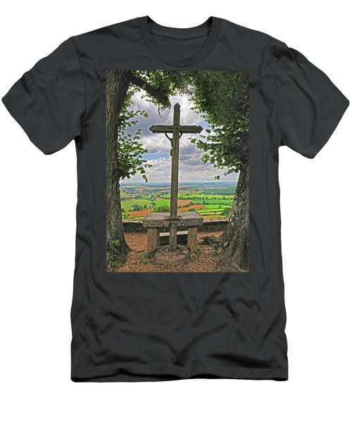Men's T-Shirt (Slim Fit) featuring the photograph Crucifix Overlooking The French Countryside by Dave Mills