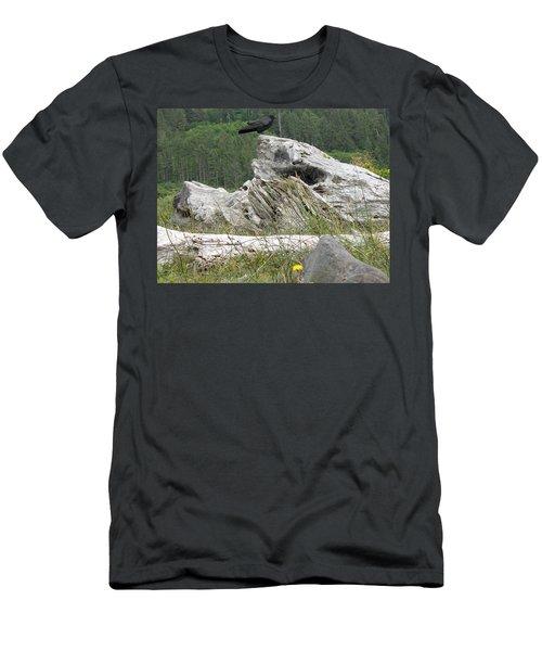 Men's T-Shirt (Slim Fit) featuring the photograph Dandelion Crow - On Oregon Coast Driftwood  by Cliff Spohn