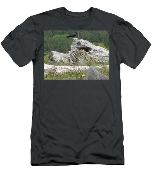 Men's T-Shirt (Athletic Fit) featuring the photograph Dandelion Crow - On Oregon Coast Driftwood  by Cliff Spohn