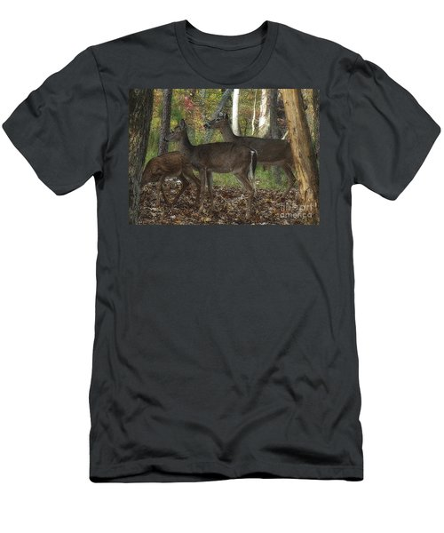 Men's T-Shirt (Slim Fit) featuring the photograph Deer In Forest by Lydia Holly