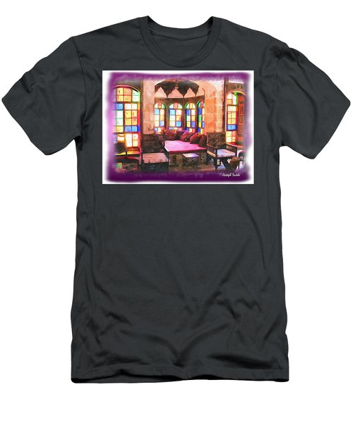 Men's T-Shirt (Athletic Fit) featuring the photograph Do-00520 Emir Bachir Palace Interior-violet Bkgd by Digital Oil