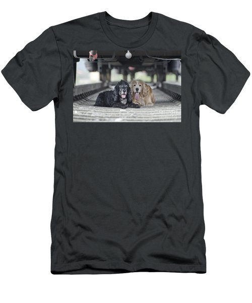 Dogs Lying Under A Train Wagon Men's T-Shirt (Athletic Fit)