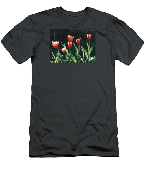 Flared Red Yellow Tulips Men's T-Shirt (Slim Fit) by Tom Wurl
