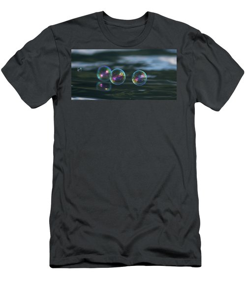Men's T-Shirt (Slim Fit) featuring the photograph Floating Bubbles by Cathie Douglas