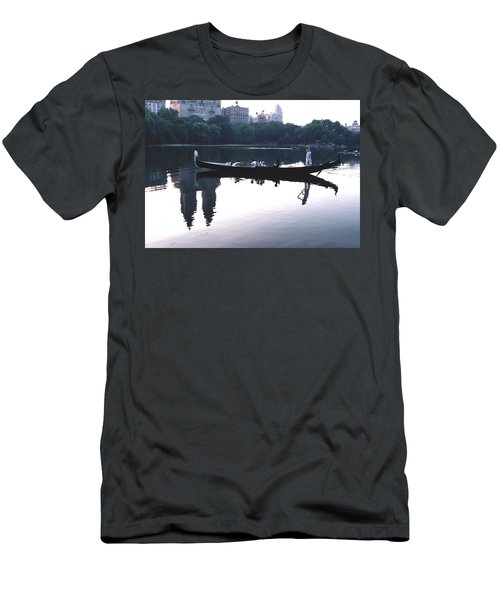Men's T-Shirt (Slim Fit) featuring the photograph Gondola On The Central Park Lake by Tom Wurl
