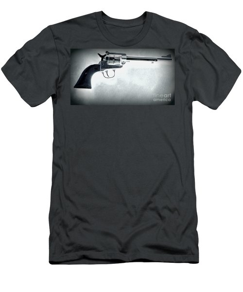 Men's T-Shirt (Slim Fit) featuring the photograph Guns And Leather 3 by Deniece Platt