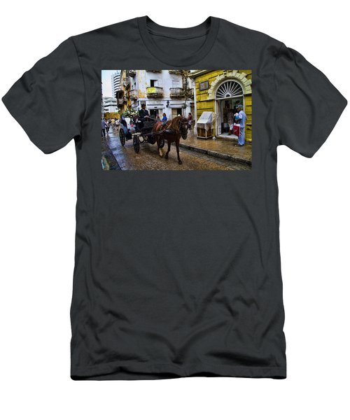Horse And Buggy In Old Cartagena Colombia Men's T-Shirt (Athletic Fit)