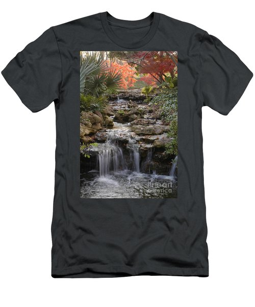 Waterfall In The Japanese Gardens, Ft. Worth, Texas Men's T-Shirt (Athletic Fit)