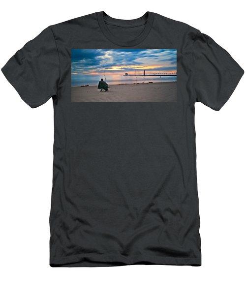 Lake Michigan Fishing Men's T-Shirt (Athletic Fit)