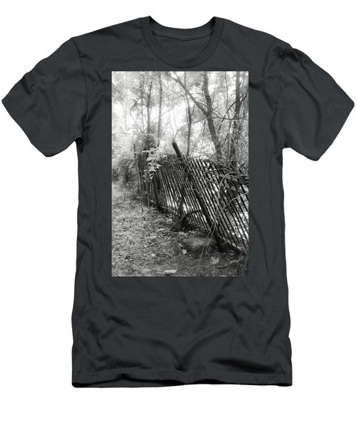 Men's T-Shirt (Slim Fit) featuring the photograph Leaning Fence by Mary Almond