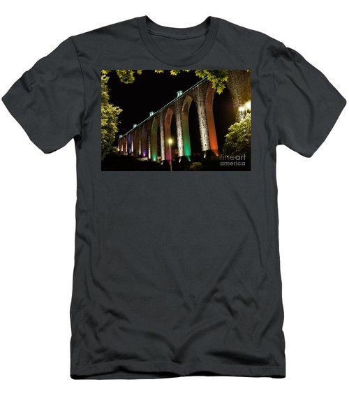 Lisbon Historic Aqueduct By Night Men's T-Shirt (Athletic Fit)