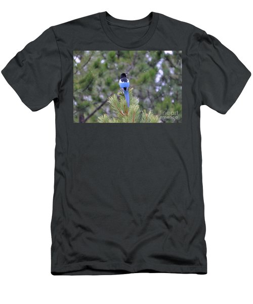 Men's T-Shirt (Athletic Fit) featuring the photograph Magpie In Snow by Dorrene BrownButterfield
