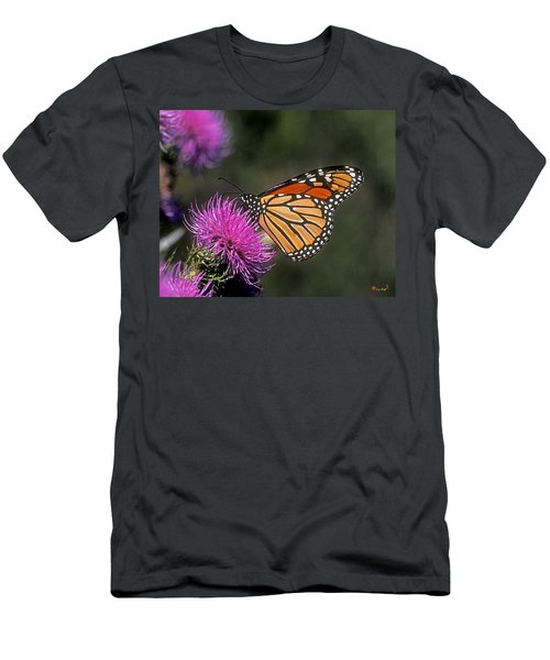 Men's T-Shirt (Slim Fit) featuring the photograph Monarch On Thistle 13f by Gerry Gantt