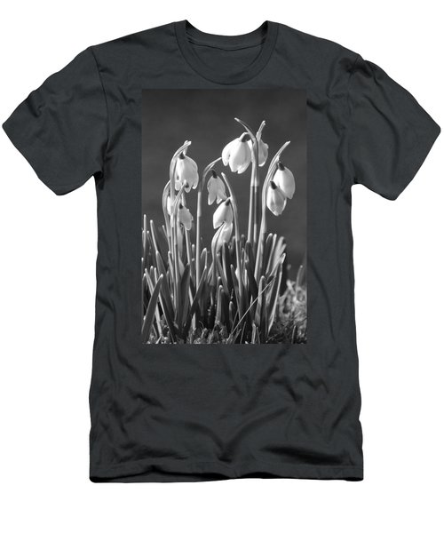 Men's T-Shirt (Slim Fit) featuring the photograph Mono Snowdrops by Lynn Bolt