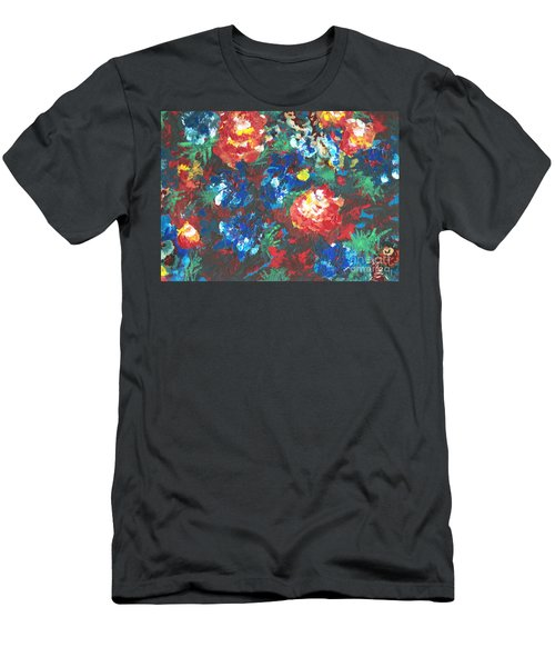 Men's T-Shirt (Slim Fit) featuring the painting My Sister's Garden II by Alys Caviness-Gober