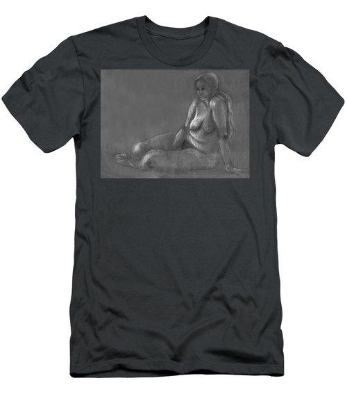 Nude Of A Real Woman In Black Men's T-Shirt (Slim Fit) by Rachel Hershkovitz
