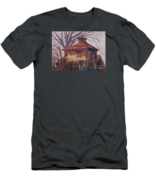Men's T-Shirt (Athletic Fit) featuring the painting Old Garage by Rod Ismay