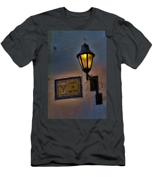 Old Lamp On A Colonial Building In Old Cartagena Colombia Men's T-Shirt (Athletic Fit)