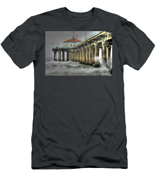 Overcast Manhattan Beach Pier Men's T-Shirt (Athletic Fit)