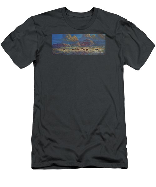 Men's T-Shirt (Slim Fit) featuring the painting Painted Desert Painted Horses by Rob Corsetti