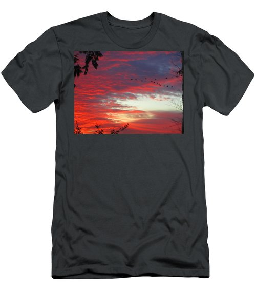 Papaya Colored Sunset With Geese Men's T-Shirt (Slim Fit) by Kym Backland