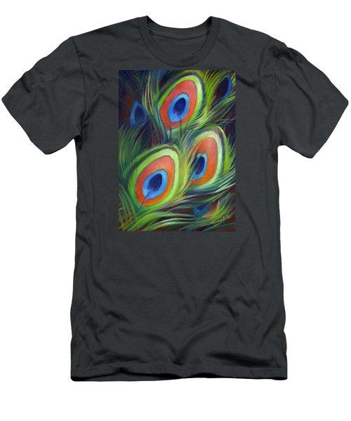 Peacock Feathers Men's T-Shirt (Slim Fit) by Nancy Tilles