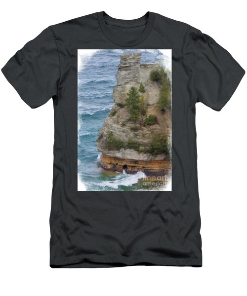 Men's T-Shirt (Slim Fit) featuring the photograph Pictured Rocks In Oil by Deniece Platt