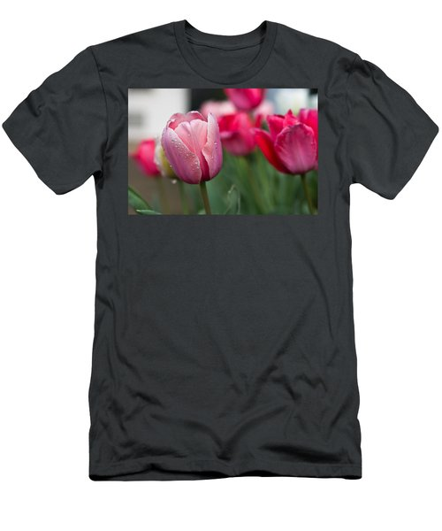 Pink Tulips With Water Drops Men's T-Shirt (Athletic Fit)