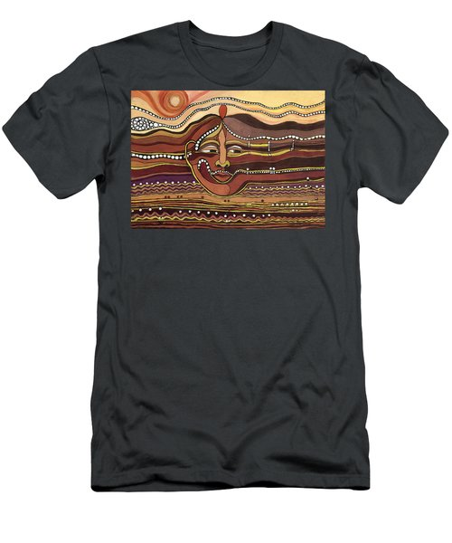 Red Aztec Face In Nature Landscape Abstract Fantasy With Earth Colors Sunset And Skyline Men's T-Shirt (Athletic Fit)