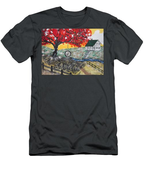 Men's T-Shirt (Slim Fit) featuring the painting Red Maple  Swing by Jeffrey Koss