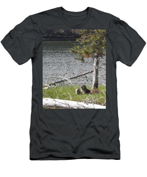 Men's T-Shirt (Slim Fit) featuring the photograph River Otter by Belinda Greb