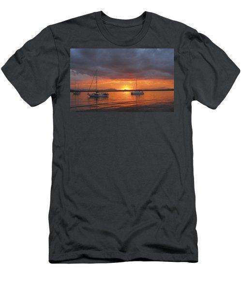 Sailboats At Anchor Men's T-Shirt (Slim Fit) by Anne Mott