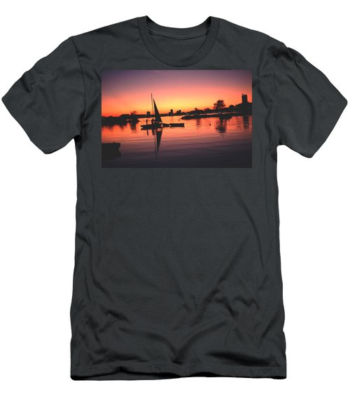 Men's T-Shirt (Slim Fit) featuring the photograph Sailing End Of The Day Backbay  Boston by Tom Wurl
