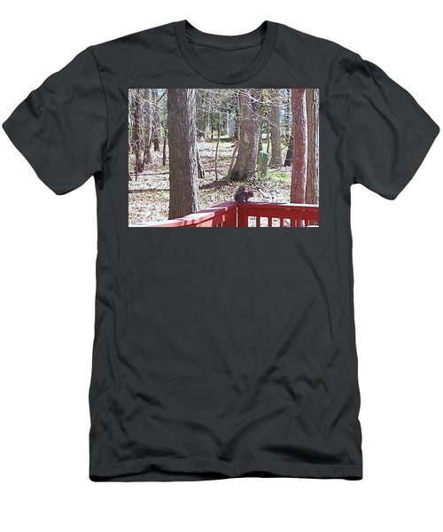 Men's T-Shirt (Slim Fit) featuring the photograph Squirrel Waiting by Pamela Hyde Wilson
