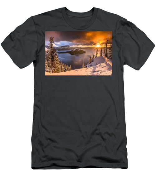 Starburst Sunrise At Crater Lake Men's T-Shirt (Athletic Fit)