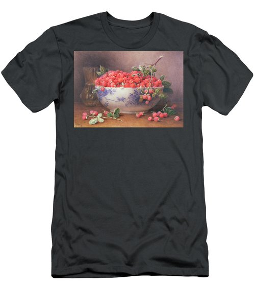 Still Life Of Raspberries In A Blue And White Bowl Men's T-Shirt (Athletic Fit)