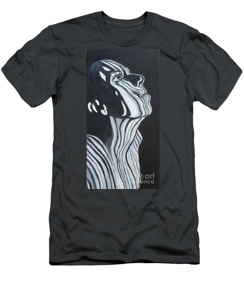 Men's T-Shirt (Slim Fit) featuring the painting Stripes by Julie Brugh Riffey