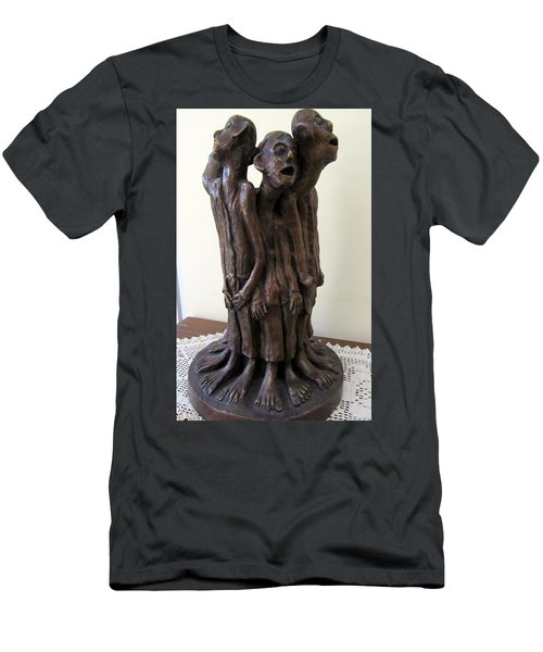 Suffering Circle In Bronze Sculpture Men In Rugs Standing In A Circle With Suffering Faces Crying  Men's T-Shirt (Slim Fit) by Rachel Hershkovitz