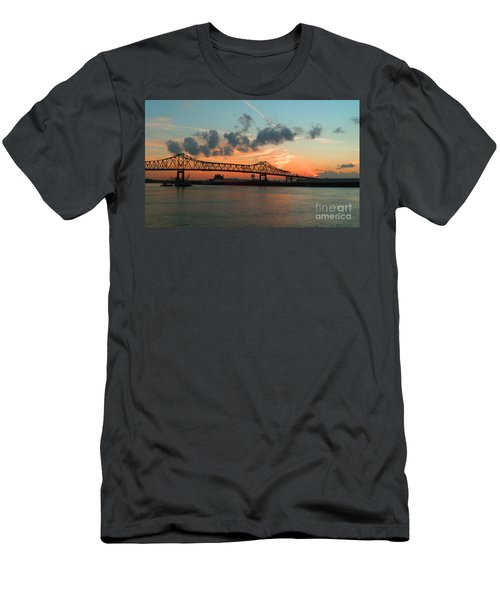 Sunset On The Mississippi  Men's T-Shirt (Slim Fit) by Lydia Holly