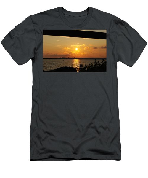 Men's T-Shirt (Slim Fit) featuring the photograph Sunset Through The Rails by Michael Frank Jr
