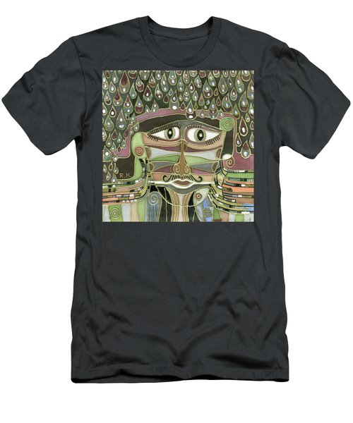 Surprize Drops Surrealistic Green Brown Face With  Liquid Drops Large Eyes Mustache  Men's T-Shirt (Athletic Fit)