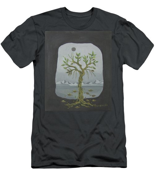 Surreal Landscape Framed  With Tree Falling Leaves Moon Mountain Sky   Men's T-Shirt (Slim Fit) by Rachel Hershkovitz