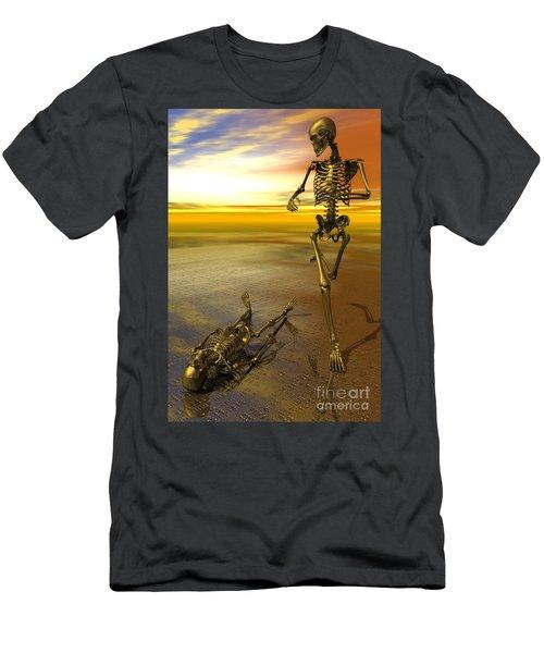 Surreal Skeleton Jogging Past Prone Skeleton With Sunset Men's T-Shirt (Athletic Fit)