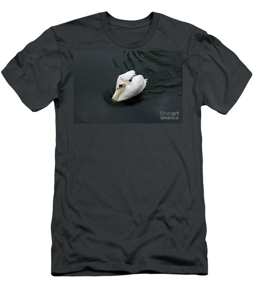 Men's T-Shirt (Slim Fit) featuring the photograph Swan On Black Water by Les Palenik