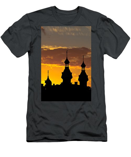 Men's T-Shirt (Slim Fit) featuring the photograph Tampa Bay Hotel Minarets At Sundown by Ed Gleichman