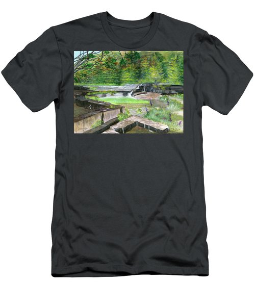 Men's T-Shirt (Slim Fit) featuring the painting Taughannock Vista Ithaca New York by Melly Terpening